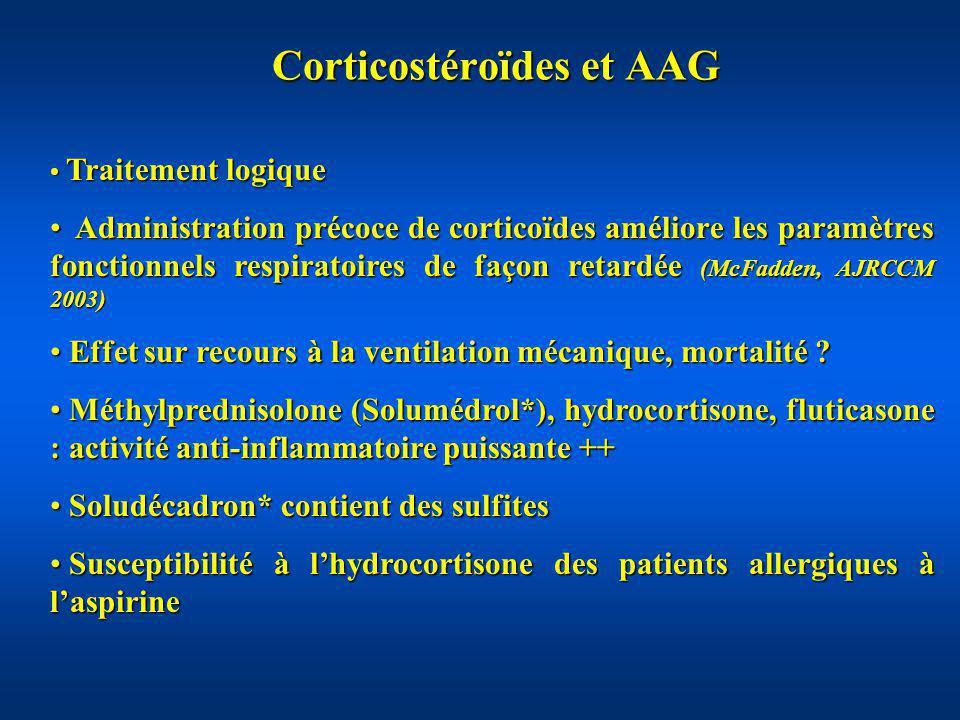 Corticostéroïdes et AAG Traitement logique Traitement logique Administration précoce de corticoïdes améliore les paramètres fonctionnels respiratoires