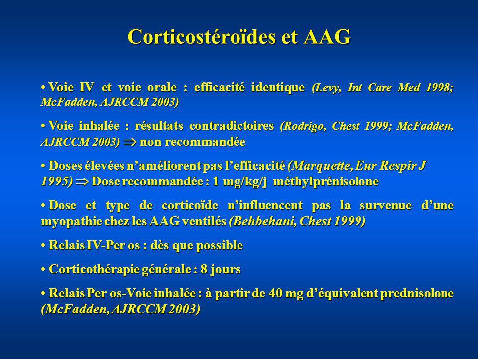 Corticostéroïdes et AAG Voie IV et voie orale : efficacité identique (Levy, Int Care Med 1998; McFadden, AJRCCM 2003) Voie IV et voie orale : efficaci