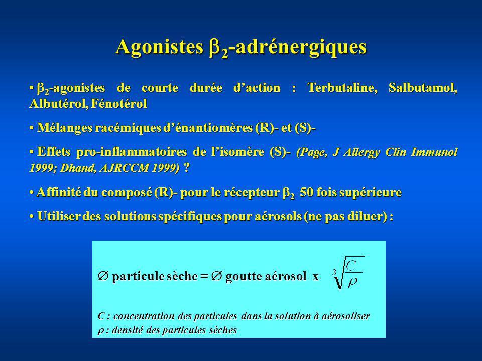Agonistes 2 -adrénergiques Modalités dadministration au cours de lAAG Voie inhalée voie IV (Salmeron, AJRCCM 1994) Voie inhalée voie IV (Salmeron, AJRCCM 1994) Nébulisations continues et intermittentes .