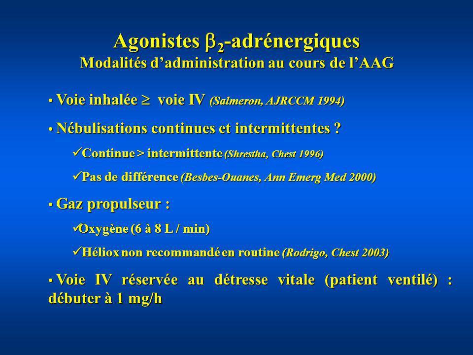 Agonistes 2 -adrénergiques Effets secondaires au cours de lAAG Aggravent transitoirement lhypoxie : vasodilatation pulmonaire, augmentation du débit cardiaque (Inwald, BMJ, 2001) nébuliser avec O 2 Aggravent transitoirement lhypoxie : vasodilatation pulmonaire, augmentation du débit cardiaque (Inwald, BMJ, 2001) nébuliser avec O 2 Tachycardie, tremblements Tachycardie, tremblements Ischémie myocardique Ischémie myocardique Hypokaliémie, allongement Q T Hypokaliémie, allongement Q T Hyperlactatémie retardée : pas de valeur pronostique (Rabbat, Int Care Med 1998) Hyperlactatémie retardée : pas de valeur pronostique (Rabbat, Int Care Med 1998)