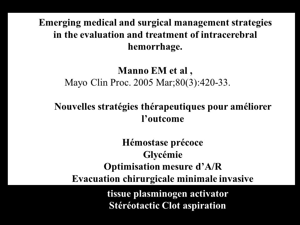 Emerging medical and surgical management strategies in the evaluation and treatment of intracerebral hemorrhage. Manno EM et al, Mayo Clin Proc. 2005