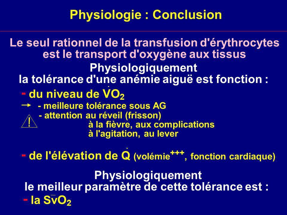 Physiologie : Conclusion Physiologiquement la tolérance d une anémie aiguë est fonction : - du niveau de VO 2 - meilleure tolérance sous AG - attention au réveil (frisson) à la fièvre, aux complications à l agitation, au lever - de l élévation de Q (volémie +++, fonction cardiaque)..