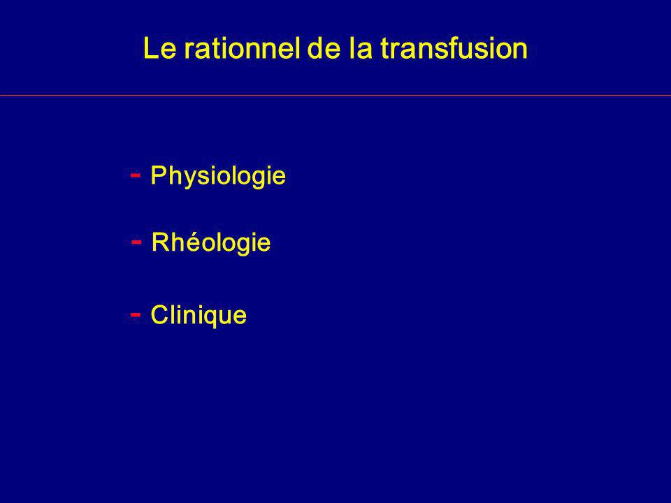 Le rationnel de la transfusion - Physiologie - Rhéologie - Clinique