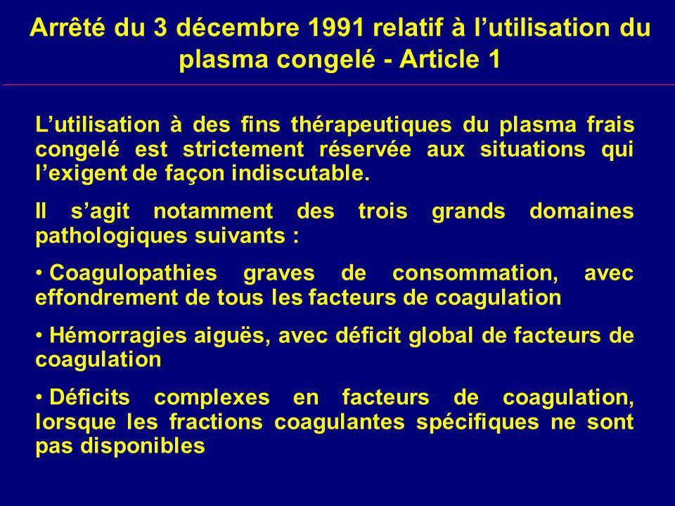Arrêté du 3 décembre 1991 relatif à lutilisation du plasma congelé - Article 1 Lutilisation à des fins thérapeutiques du plasma frais congelé est strictement réservée aux situations qui lexigent de façon indiscutable.