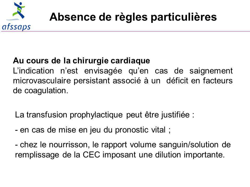 Absence de règles particulières Au cours de la chirurgie cardiaque Lindication nest envisagée quen cas de saignement microvasculaire persistant associé à un déficit en facteurs de coagulation.