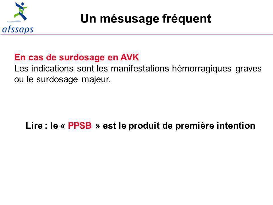 Un mésusage fréquent En cas de surdosage en AVK Les indications sont les manifestations hémorragiques graves ou le surdosage majeur.