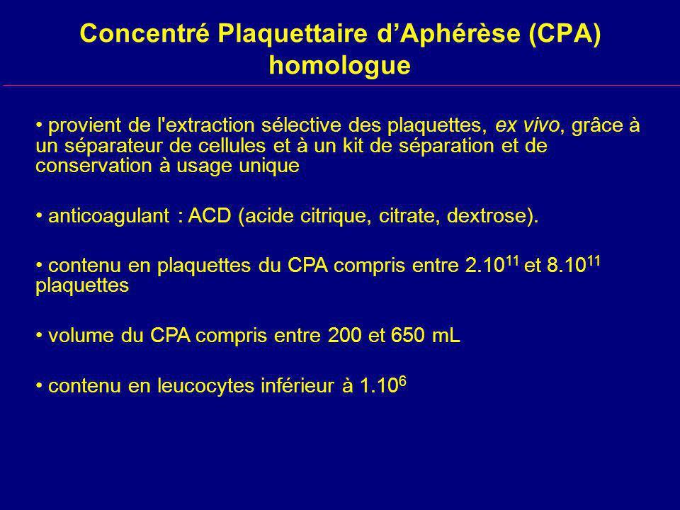Concentré Plaquettaire dAphérèse (CPA) homologue provient de l extraction sélective des plaquettes, ex vivo, grâce à un séparateur de cellules et à un kit de séparation et de conservation à usage unique anticoagulant : ACD (acide citrique, citrate, dextrose).