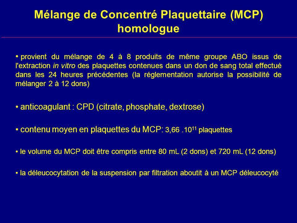 Mélange de Concentré Plaquettaire (MCP) homologue provient du mélange de 4 à 8 produits de même groupe ABO issus de l extraction in vitro des plaquettes contenues dans un don de sang total effectué dans les 24 heures précédentes (la réglementation autorise la possibilité de mélanger 2 à 12 dons) anticoagulant : CPD (citrate, phosphate, dextrose) contenu moyen en plaquettes du MCP: 3,66.10 11 plaquettes le volume du MCP doit être compris entre 80 mL (2 dons) et 720 mL (12 dons) la déleucocytation de la suspension par filtration aboutit à un MCP déleucocyté