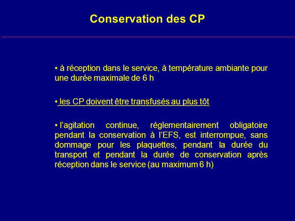 Conservation des CP à réception dans le service, à température ambiante pour une durée maximale de 6 h les CP doivent être transfusés au plus tôt lagitation continue, réglementairement obligatoire pendant la conservation à lEFS, est interrompue, sans dommage pour les plaquettes, pendant la durée du transport et pendant la durée de conservation après réception dans le service (au maximum 6 h)