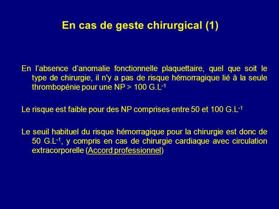 En cas de geste chirurgical (1) En labsence danomalie fonctionnelle plaquettaire, quel que soit le type de chirurgie, il n y a pas de risque hémorragique lié à la seule thrombopénie pour une NP > 100 G.L -1 Le risque est faible pour des NP comprises entre 50 et 100 G.L -1 Le seuil habituel du risque hémorragique pour la chirurgie est donc de 50 G.L -1, y compris en cas de chirurgie cardiaque avec circulation extracorporelle (Accord professionnel)