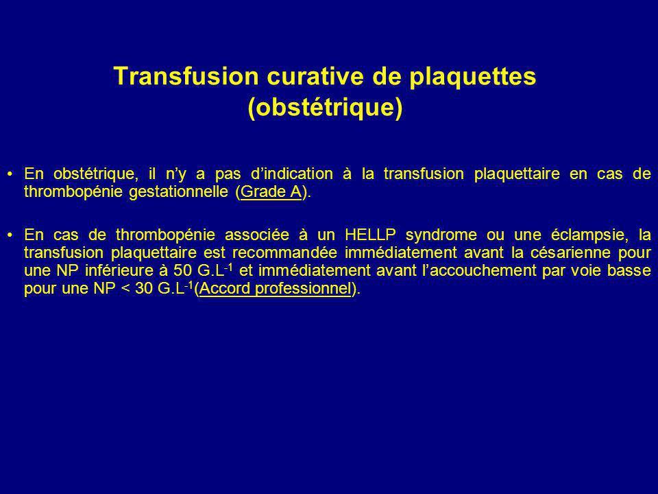 Transfusion curative de plaquettes (obstétrique) En obstétrique, il ny a pas dindication à la transfusion plaquettaire en cas de thrombopénie gestationnelle (Grade A).