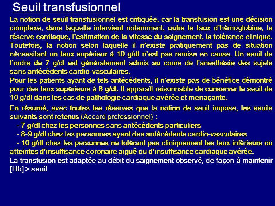 Seuil transfusionnel La notion de seuil transfusionnel est critiqu é e, car la transfusion est une d é cision complexe, dans laquelle intervient notamment, outre le taux d h é moglobine, la r é serve cardiaque, l estimation de la vitesse du saignement, la tol é rance clinique.