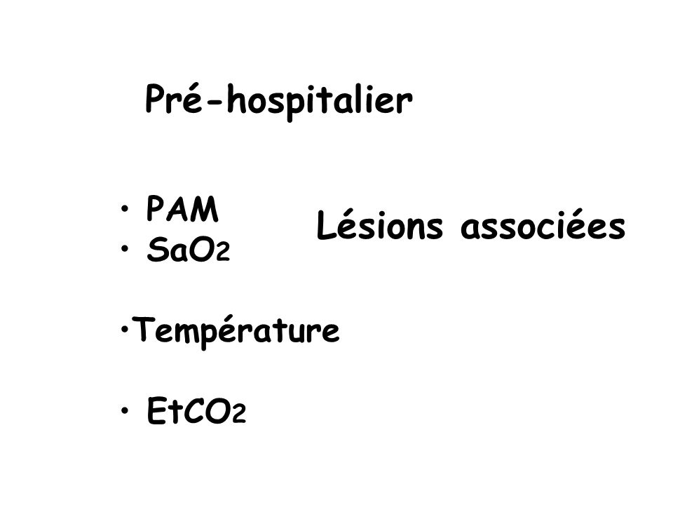PAM SaO 2 Température EtCO 2 Pré-hospitalier Lésions associées