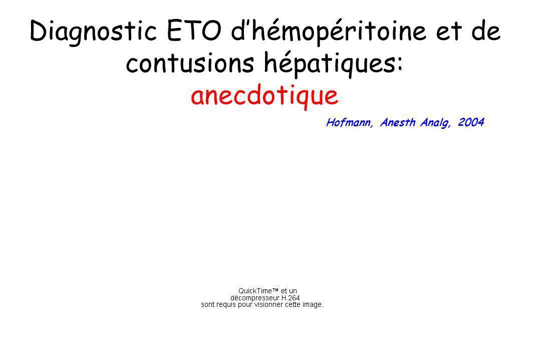 Diagnostic ETO dhémopéritoine et de contusions hépatiques: anecdotique Hofmann, Anesth Analg, 2004
