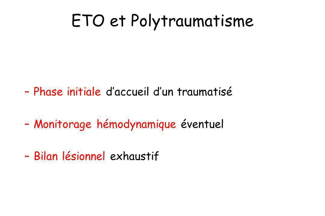 ETO et Polytraumatisme –Phase initiale daccueil dun traumatisé –Monitorage hémodynamique éventuel –Bilan lésionnel exhaustif