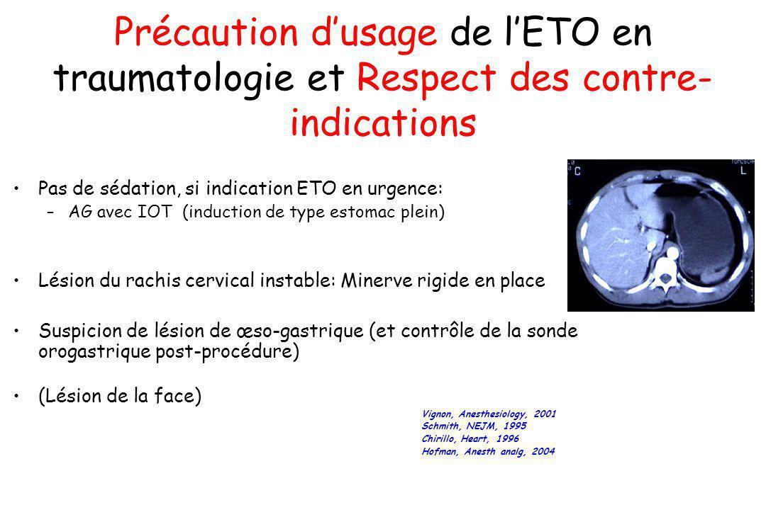 Précaution dusage de lETO en traumatologie et Respect des contre- indications Pas de sédation, si indication ETO en urgence: –AG avec IOT (induction d