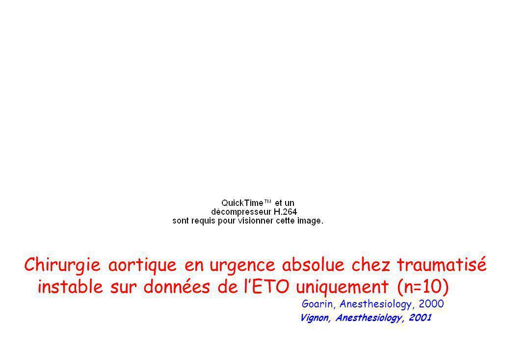 Chirurgie aortique en urgence absolue chez traumatisé instable sur données de lETO uniquement (n=10) Goarin, Anesthesiology, 2000 Vignon, Anesthesiolo