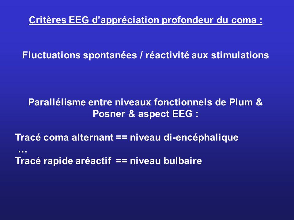 Critères EEG dappréciation profondeur du coma : Fluctuations spontanées / réactivité aux stimulations Parallélisme entre niveaux fonctionnels de Plum & Posner & aspect EEG : Tracé coma alternant == niveau di-encéphalique … Tracé rapide aréactif == niveau bulbaire