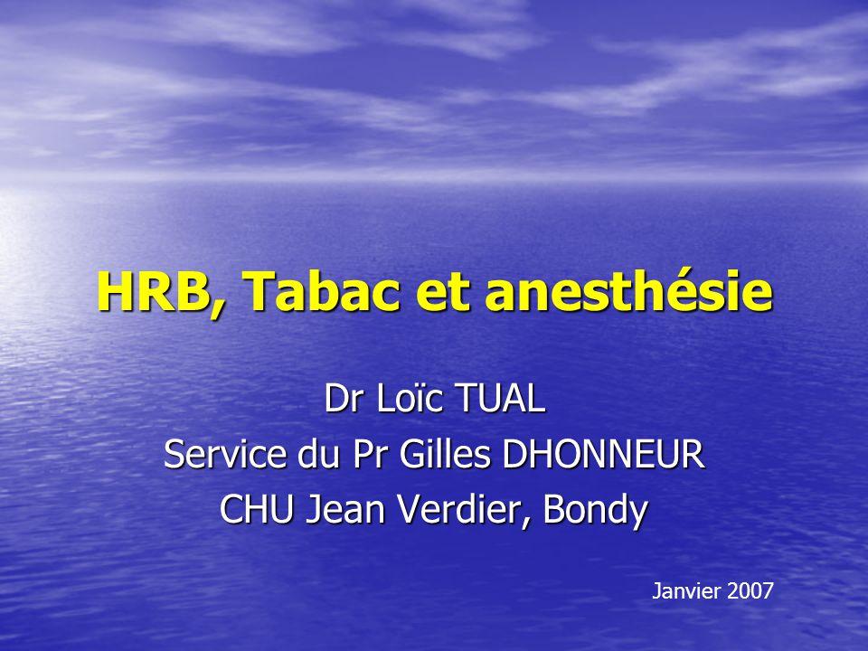 HRB, Tabac et anesthésie Dr Loïc TUAL Service du Pr Gilles DHONNEUR CHU Jean Verdier, Bondy Janvier 2007