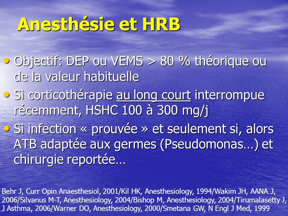 Anesthésie et HRB Objectif: DEP ou VEMS > 80 % théorique ou de la valeur habituelle Objectif: DEP ou VEMS > 80 % théorique ou de la valeur habituelle Si corticothérapie au long court interrompue récemment, HSHC 100 à 300 mg/j Si corticothérapie au long court interrompue récemment, HSHC 100 à 300 mg/j Si infection « prouvée » et seulement si, alors ATB adaptée aux germes (Pseudomonas…) et chirurgie reportée… Si infection « prouvée » et seulement si, alors ATB adaptée aux germes (Pseudomonas…) et chirurgie reportée… Behr J, Curr Opin Anaesthesiol, 2001/Kil HK, Anesthesiology, 1994/Wakim JH, AANA J, 2006/Silvanus M-T, Anesthesiology, 2004/Bishop M, Anesthesiology, 2004/Tirumalasetty J, J Asthma, 2006/Warner DO, Anesthesiology, 2000/Smetana GW, N Engl J Med, 1999