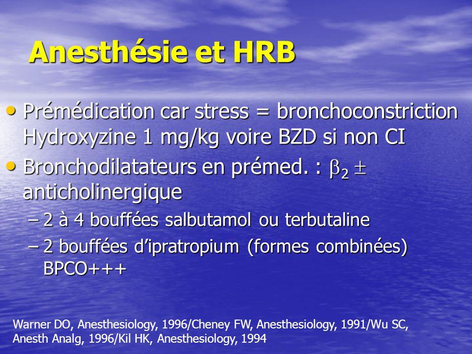 Anesthésie et HRB Prémédication car stress = bronchoconstriction Hydroxyzine 1 mg/kg voire BZD si non CI Prémédication car stress = bronchoconstriction Hydroxyzine 1 mg/kg voire BZD si non CI Bronchodilatateurs en prémed.