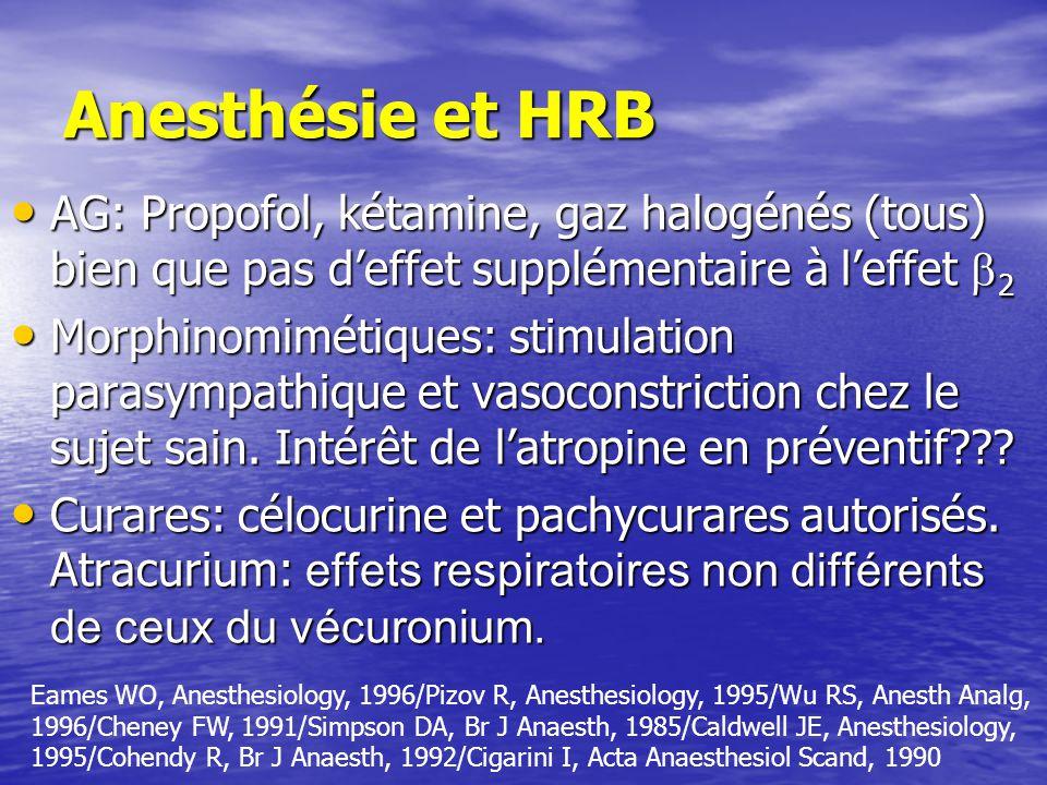 Anesthésie et HRB AG: Propofol, kétamine, gaz halogénés (tous) bien que pas deffet supplémentaire à leffet 2 AG: Propofol, kétamine, gaz halogénés (tous) bien que pas deffet supplémentaire à leffet 2 Morphinomimétiques: stimulation parasympathique et vasoconstriction chez le sujet sain.