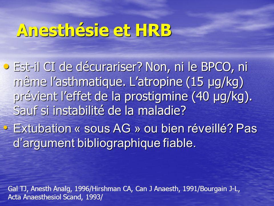 Anesthésie et HRB Est-il CI de décurariser.Non, ni le BPCO, ni même lasthmatique.