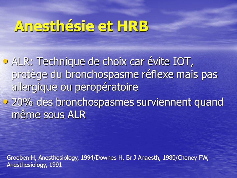 Anesthésie et HRB ALR: Technique de choix car évite IOT, protège du bronchospasme réflexe mais pas allergique ou peropératoire ALR: Technique de choix car évite IOT, protège du bronchospasme réflexe mais pas allergique ou peropératoire 20% des bronchospasmes surviennent quand même sous ALR 20% des bronchospasmes surviennent quand même sous ALR Groeben H, Anesthesiology, 1994/Downes H, Br J Anaesth, 1980/Cheney FW, Anesthesiology, 1991