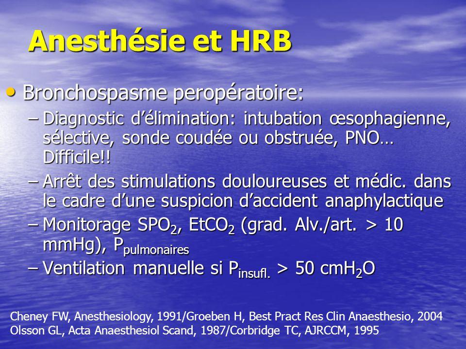 Anesthésie et HRB Bronchospasme peropératoire: Bronchospasme peropératoire: –Diagnostic délimination: intubation œsophagienne, sélective, sonde coudée ou obstruée, PNO… Difficile!.