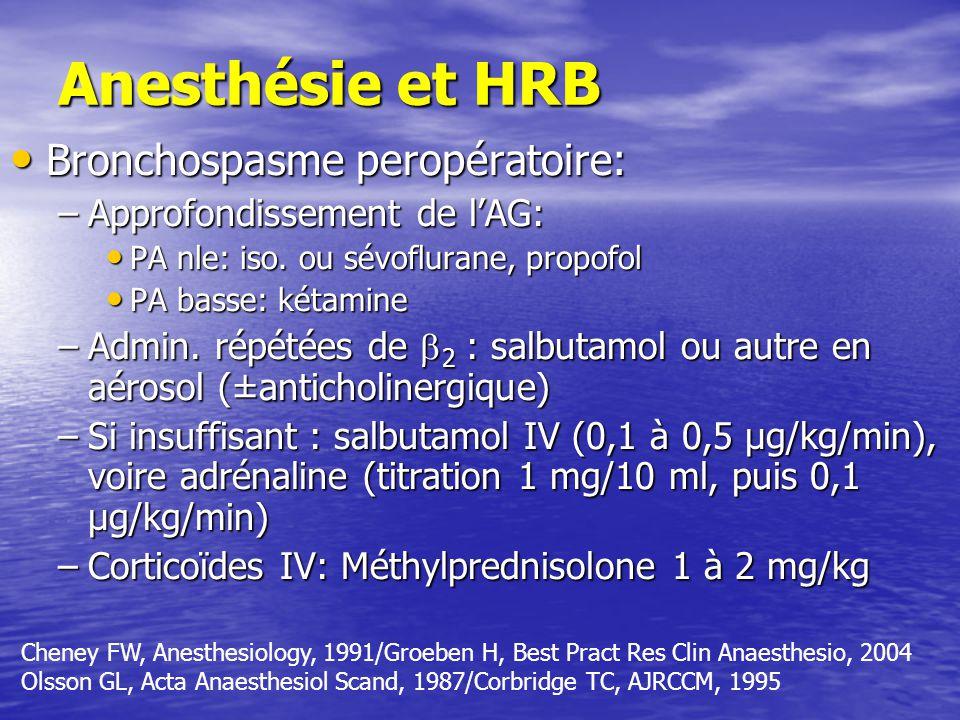 Anesthésie et HRB Bronchospasme peropératoire: Bronchospasme peropératoire: –Approfondissement de lAG: PA nle: iso.