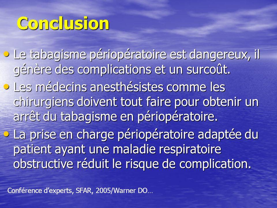 Conclusion Le tabagisme périopératoire est dangereux, il génère des complications et un surcoût.