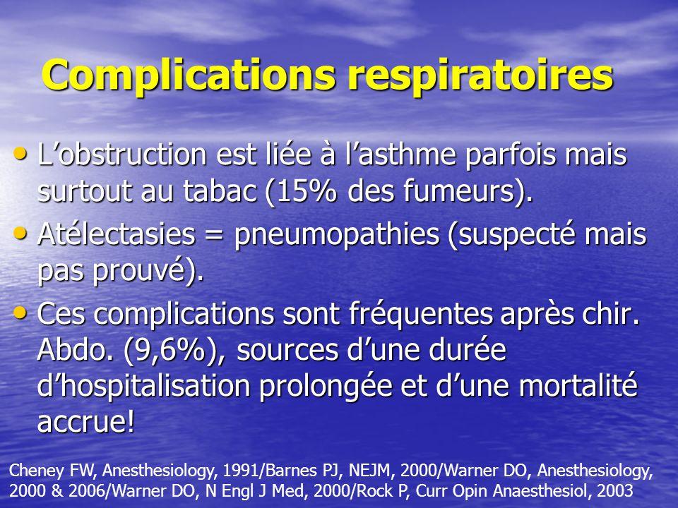 Complications respiratoires Lobstruction est liée à lasthme parfois mais surtout au tabac (15% des fumeurs).