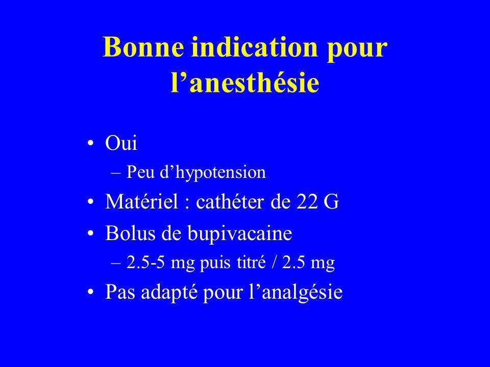 Bonne indication pour lanesthésie Oui –Peu dhypotension Matériel : cathéter de 22 G Bolus de bupivacaine –2.5-5 mg puis titré / 2.5 mg Pas adapté pour lanalgésie