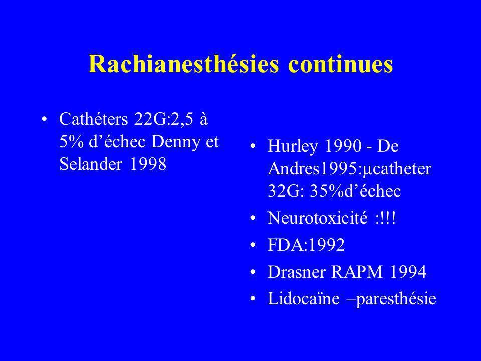 Cathéters 22G:2,5 à 5% déchec Denny et Selander 1998 Hurley 1990 - De Andres1995:µcatheter 32G: 35%déchec Neurotoxicité :!!.