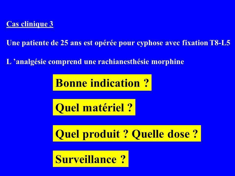 Cas clinique 3 Une patiente de 25 ans est opérée pour cyphose avec fixation T8-L5 L analgésie comprend une rachianesthésie morphine Surveillance .
