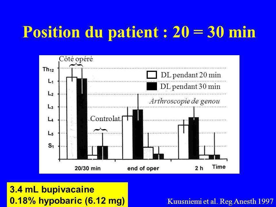Position du patient : 20 = 30 min DL pendant 20 min DL pendant 30 min { { Côté opéré Controlat.
