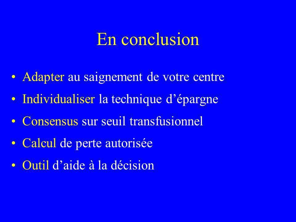 En conclusion Adapter au saignement de votre centre Individualiser la technique dépargne Consensus sur seuil transfusionnel Calcul de perte autorisée Outil daide à la décision