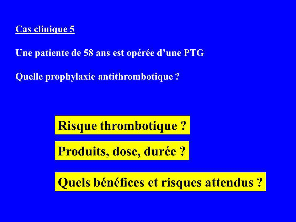 Cas clinique 5 Une patiente de 58 ans est opérée dune PTG Quelle prophylaxie antithrombotique .