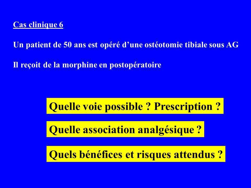 Cas clinique 6 Un patient de 50 ans est opéré dune ostéotomie tibiale sous AG Il reçoit de la morphine en postopératoire Quelle voie possible .