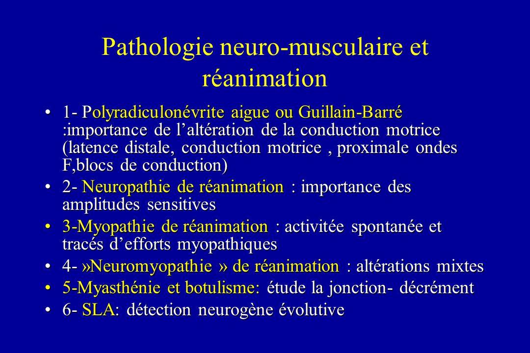 Pathologie neuro-musculaire et réanimation 1- Polyradiculonévrite aigue ou Guillain-Barré :importance de laltération de la conduction motrice (latence