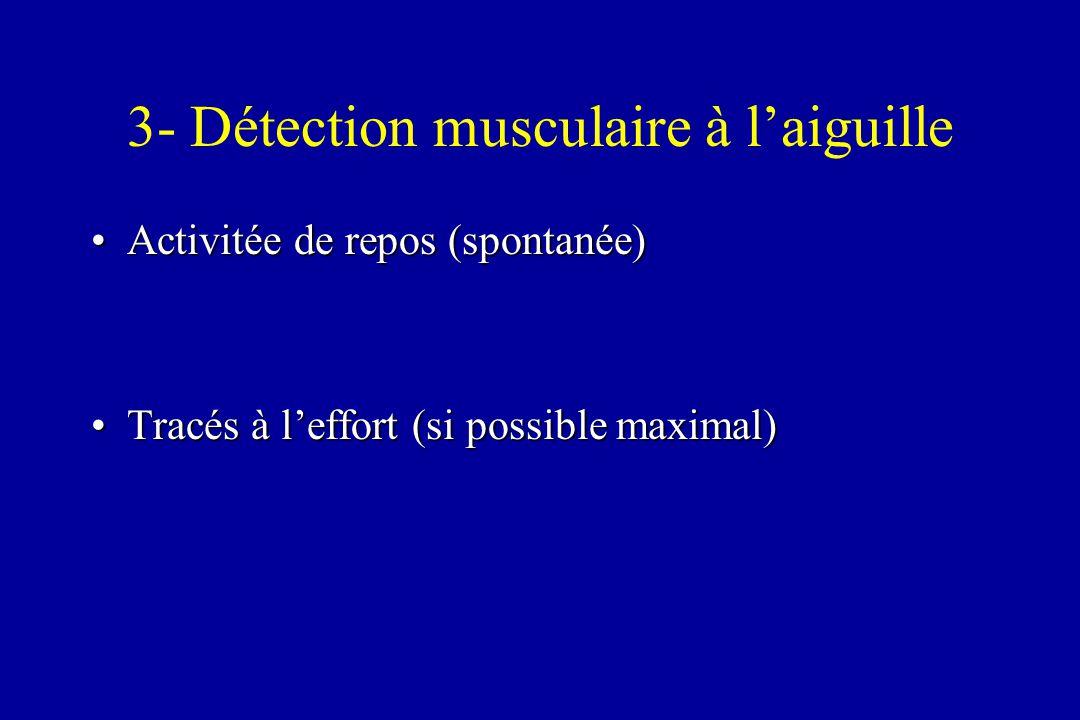 3- Détection musculaire à laiguille Activitée de repos (spontanée)Activitée de repos (spontanée) Tracés à leffort (si possible maximal)Tracés à leffor