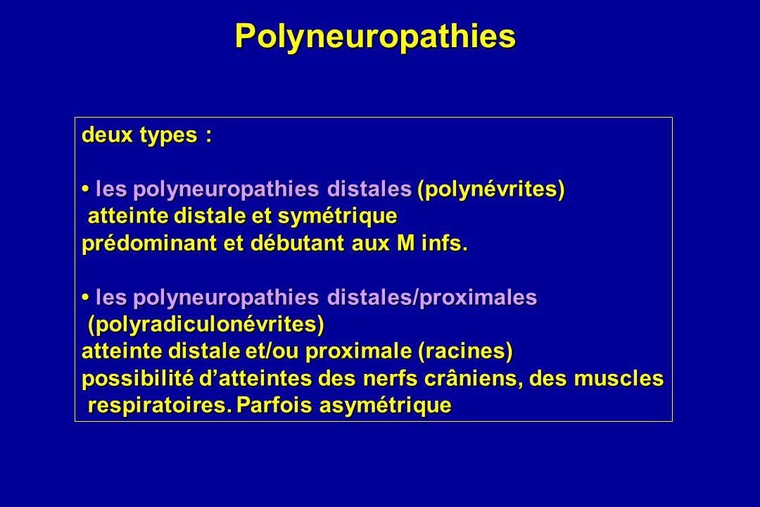 Polyneuropathies Polyneuropathies deux types : les polyneuropathies distales (polynévrites) les polyneuropathies distales (polynévrites) atteinte dist