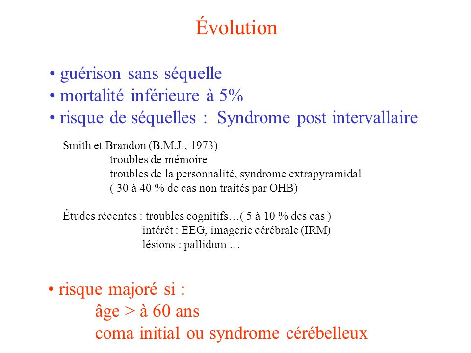 Évolution guérison sans séquelle mortalité inférieure à 5% risque de séquelles : Syndrome post intervallaire Smith et Brandon (B.M.J., 1973) troubles