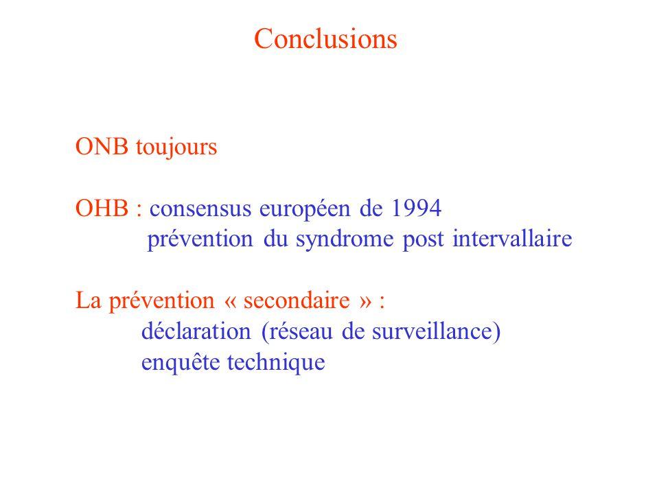 Conclusions ONB toujours OHB : consensus européen de 1994 prévention du syndrome post intervallaire La prévention « secondaire » : déclaration (réseau