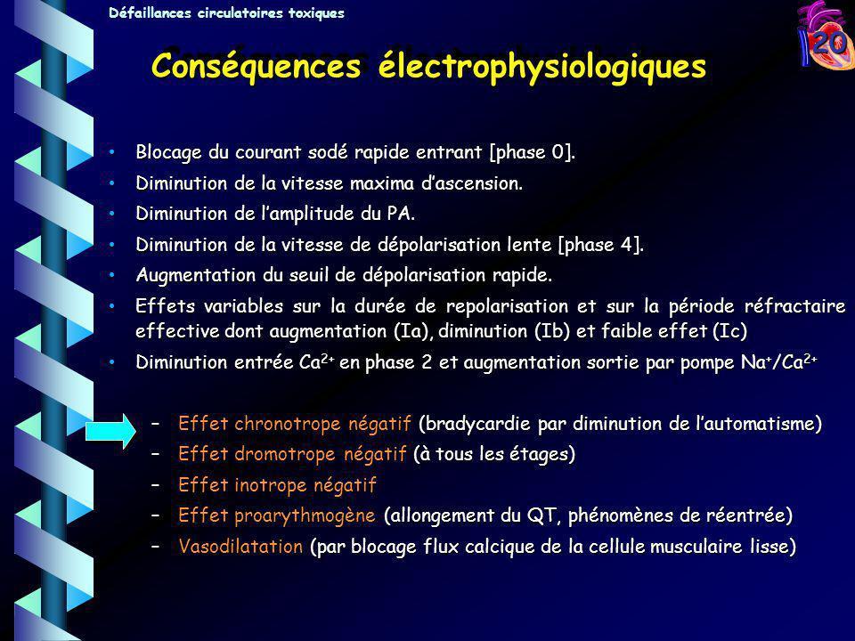 20 Conséquences électrophysiologiques Blocage du courant sodé rapide entrant [phase 0]. Blocage du courant sodé rapide entrant [phase 0]. Diminution d