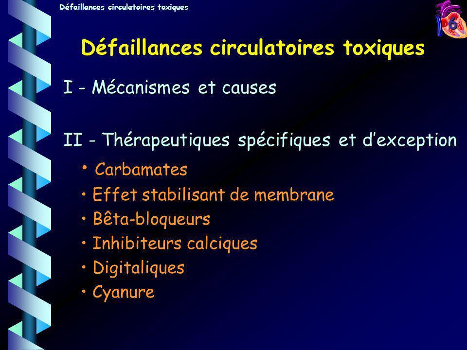 7 Mécanismes et causes (1) I- Atteinte cardiaque : A - Altération de la fonction systolique –1- Effet inotrope négatif - Stabilisants de membrane - Bêta-bloquants - Inhibiteurs calciques - CN - CO –2 - Altération de la géométrie de contraction - Stabilisants de membrane QRS > 0,16 s - Troubles du rythme ventriculaire malin Défaillances circulatoires toxiques