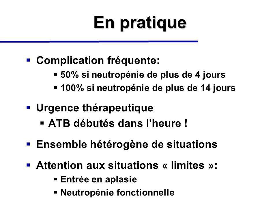 En pratique Complication fréquente: 50% si neutropénie de plus de 4 jours 100% si neutropénie de plus de 14 jours Urgence thérapeutique ATB débutés dans lheure .