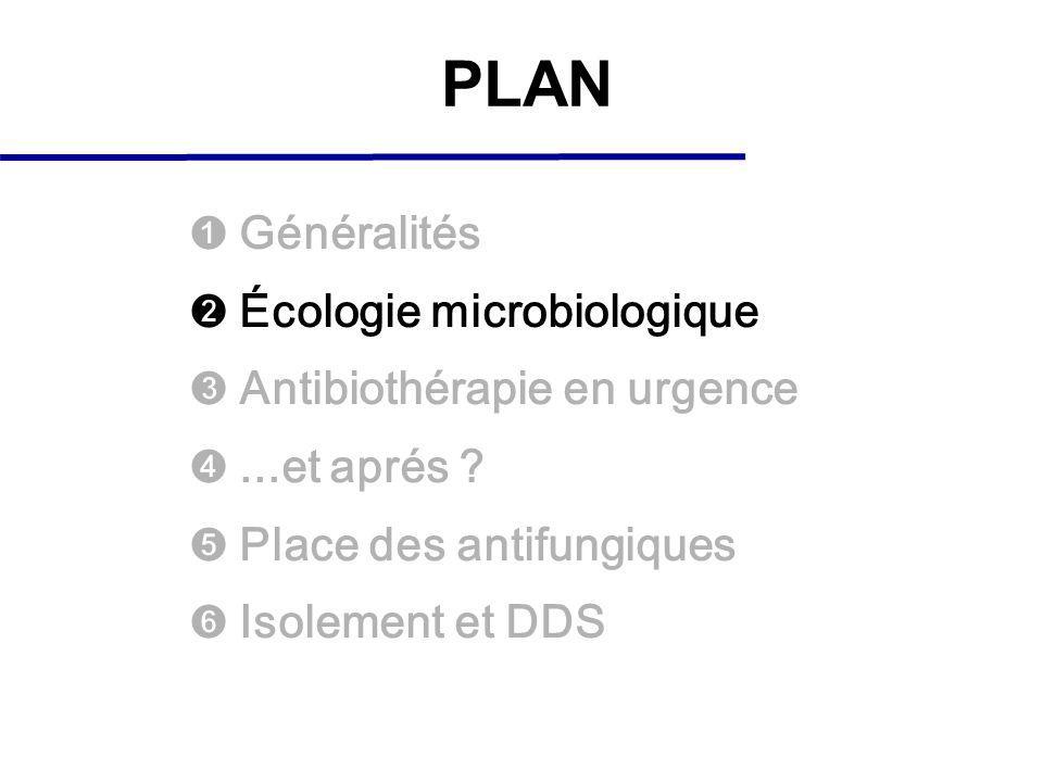 PLAN Généralités Écologie microbiologique Antibiothérapie en urgence...et aprés ? Place des antifungiques Isolement et DDS