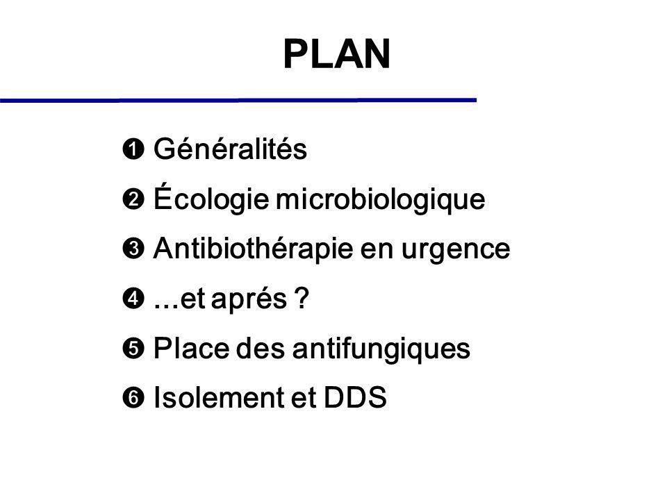 PLAN Généralités Écologie microbiologique Antibiothérapie en urgence...et aprés .