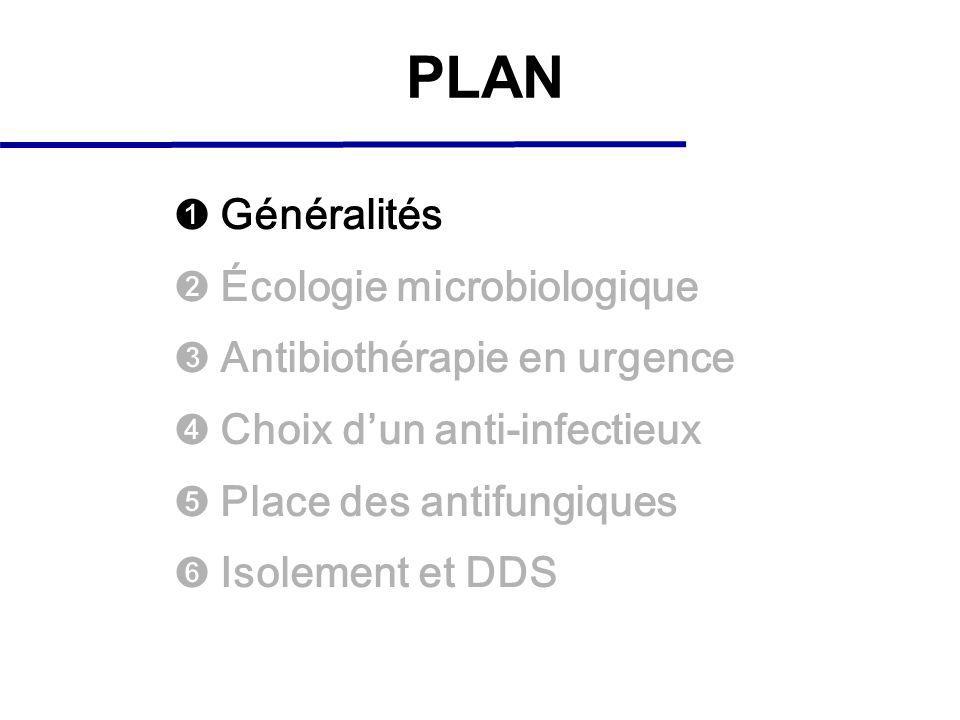 PLAN Généralités Écologie microbiologique Antibiothérapie en urgence Choix dun anti-infectieux Place des antifungiques Isolement et DDS